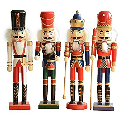 Christmas Nutcracker 5'' Wooden Doll Decoration Gift Set of 4