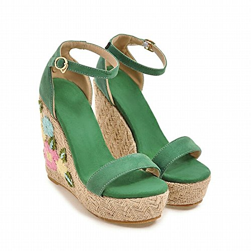Heel Heel Green Sandals Women's Wedge High Mee Shoes Buckle Charm xfPwgY4q