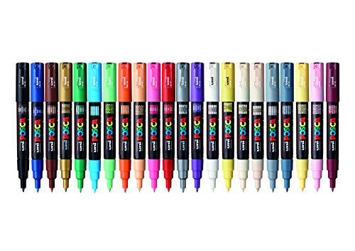 POSCA 153544865 1 mm Fine Tip Waterbased Paint Marker - Assorted Colours (Pack of 22)