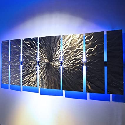 Modern Abstract Metal Wall Art Large Metal Art Panels Cosmic Energy Led