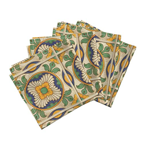 Roostery Spanish Tiles Organic Sateen Dinner Napkins Golden Flowers Green Leaves Architectural Vintage Inspired Mexican Tile by Jewelraider Set of 4 Dinner Napkins