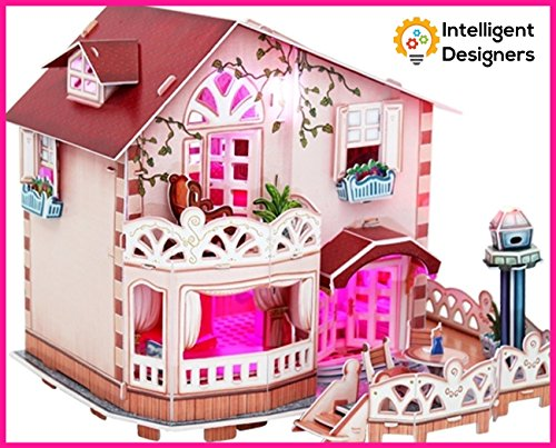 Build Wonderful Loving Memories With Our Best Holiday Bungalow Dollhouse 3D Puzzle With LED Light - A Perfect Special & Fun Gift For Kids - Beautiful & Detailed - Easy to Assemble - No Glue or Scissor