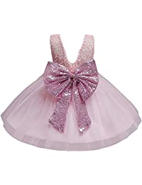 Baby Girl Lace Mesh Tutu Dress Sequin Bow Toddler Princess Gown