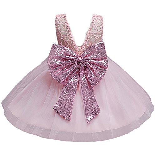 JiaDuo Baby Girl Lace Mesh Tutu Dress Sequin Bow Toddler Princess Gown ,Pink,12-18 Months ( 80) ()