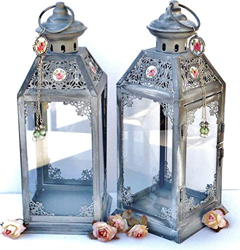 Painted Roses Hand Candle (Romantic Grey Metal Filigree and Glass Hanging Victorian Candle Lantern with Hand Painted Pink Roses)