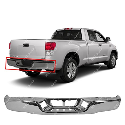 MBI AUTO - Chrome, Steel Rear Bumper Face Bar Shell for 2007 2008 2009 2010 2011 2012 2013 Toyota Tundra Pickup 07-13, TO1102244 (Parts Rear Toyota Bumper)