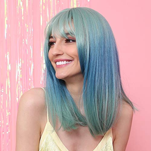 Salaks Fashion Women Mint Green Gradient Blue Wig,Summer Colorful Natural Looking Medium Long Straight Hair Wig Party Cosplay Full Wig for Women Breathable and Comfortable 16 Inch (Multicolor) ()