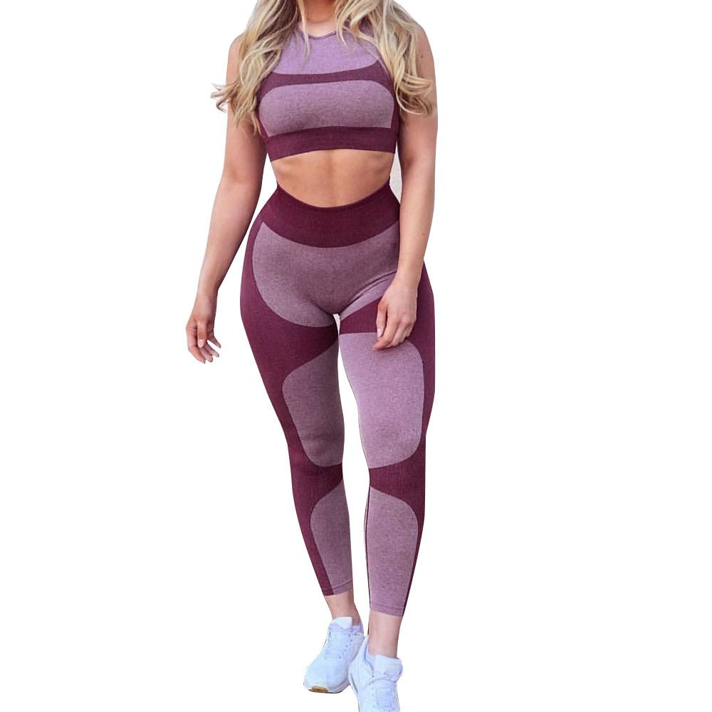Yoga Pants Women Leggings Fitness High Waisted Workout Tummy Control Running Sports Pants Colorblock Athletic Pants Pink