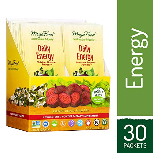 MegaFood - Daily Energy Booster Powder, Promotes Energy, Endurance, Metabolism, and Stress Relief with Vitamin B12 and Ashwagandha, Vegetarian, Gluten-Free, Non-GMO, 30 Singles (FFP)