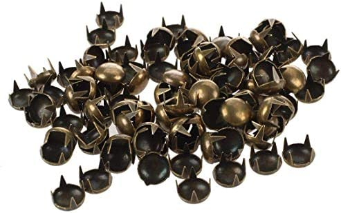 100 Pcs Round Dome Studs Metal Claw Beads Nailhead Punk Rivets with Spikes Bronze, 7 Mm