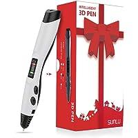 SUNLU Stylo 3D compatible avec PLA & ABS 1,75 mm, Stylo d'imprimante 3D avec port USB, Stylo de Dessin 3D Doodler avec écran LCD pour Enfants,Cadeau de Noël, Stylo 3D (Blanc)