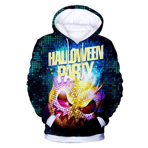 KLFGJ Unisex Hoodies Sweatshirts 3D Print Long Sleeve Hooded Pullover for Halloween Party Yellow