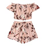 ShenPr Women's Cold Shoulder Chiffon Boho Sunflower Printed Flare Half Sleeve Mini Top Vest And Shorts Set (Pink, S)