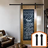 HomeDeco Hardware 8 FT Rustic Sliding Barn Door Rolling Antique Flat Black Steel Tracks Single Doors Kit