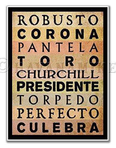 CIGAR SIZES Vintage Style Pinup Tobacco Poster Art Print - Toro, Churchill, Corona, etc. - measures 24