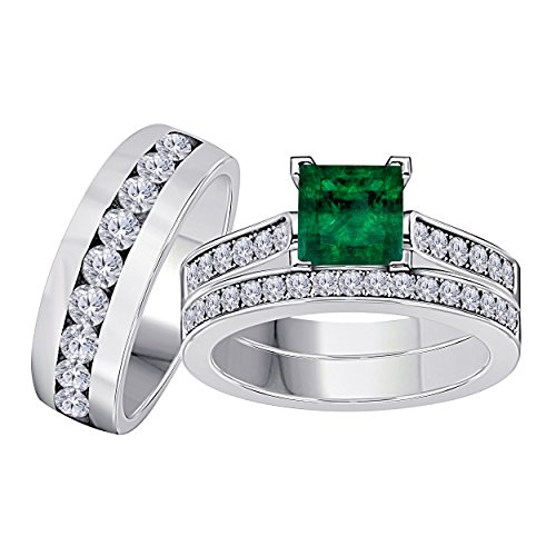 Silver Gems Factory His Her 3.00 Carat Synthetic Green Emerald Princess Cut & Round CZ Diamond 14k White Gold Finish Mens Womes Engagement Wedding Ring Set Trio
