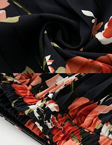 Taille Jupes avec Longue Haute Jupe Yiiquanan Bohme Imprim Maxi Floral Femme Mousseline Rtro Rosso Noir en Pliss dwRqIRS