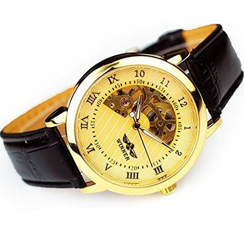 less Steel Case and Leather Band Hand Wind Mechanicla Watch for Man and Woman,Gold (Citation Castle)