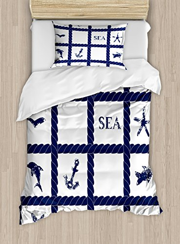 Ambesonne Navy Blue Duvet Cover Set Twin Size, Navy Yacht Vessel Rope used as Frame with Starfish Fish and Anchor Image, Decorative 2 Piece Bedding Set with 1 Pillow Sham, - 2 Fish Piece Set