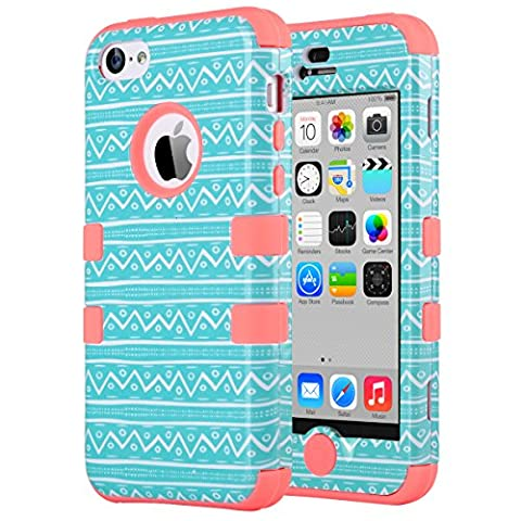 iPhone 5C Case, ULAK 3in1 Anti Slip IPhone 5C Case Hybrid with Soft Flexible Inner Silicone Skin Protective Case Cover for Apple iPhone 5C Zigzag + Coral (Pink Iphone 5c Phone Case)