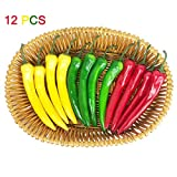 Lorigun 12 Pcs Artificial Chili Peppers Simulation Fake Vegetable Photo Props Home Decoration Three-Colour(Red+Yellow+Green)