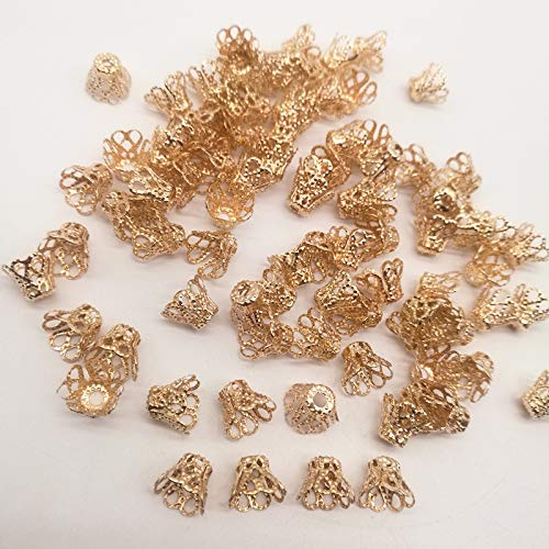 NX Garden 1000pcs Gold Alloy Jewelry Bead Caps, End Caps, Cord Caps, Hollow Flower Filigree Spacer Tassel Charms Accessories for Jewelry Making DIY Medium Size 9x6mm