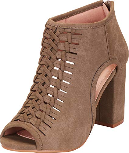 (Cambridge Select Women's Open Toe Laser Cutout Whipstitch Block High Heel Ankle Bootie,7.5 B(M) US,Olive Green NBPU)