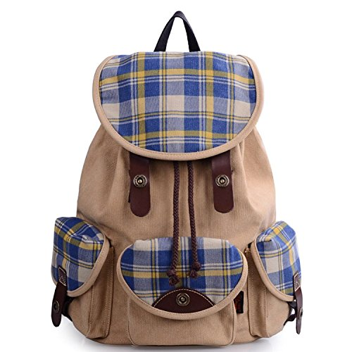 Colnsky Unisex-adult Korean Fashion Casual Canvas Backpack for College G00125 Khaki Check Gingham New ()