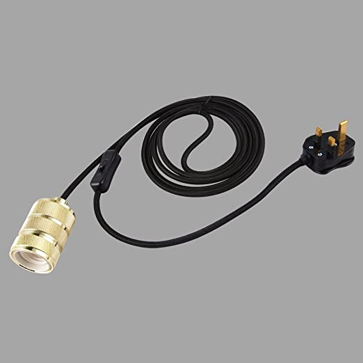 ONEPRE 3 Meters Of 3 Core Black Fabric Cable Plug In Pendant - 3 Switch Light Fitting