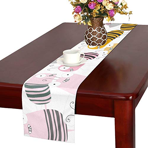 - JTMOVING Seamless Pattern Retro Cute Cartoon Bee Funny Char Table Runner, Kitchen Dining Table Runner 16 X 72 Inch for Dinner Parties, Events, Decor