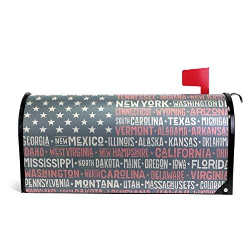senya Magnetic Large Size Mailbox Cover America Flag States Capital Cities, Oversized