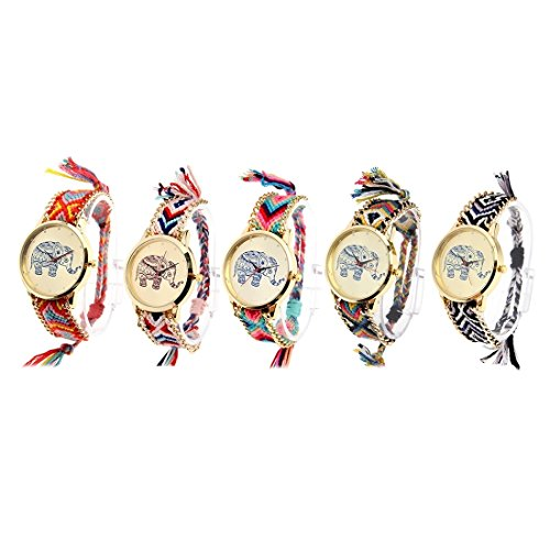 Round Dial Elephant Pattern Fashion Women Quartz Watch With Colorful Hand-woven Rope Band (SKU : S-WA-0622A) by Dig dog bone (Image #5)