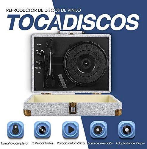 Souidmy Tocadiscos de Vinilo con Bluetooth, 2 Altavoces ...