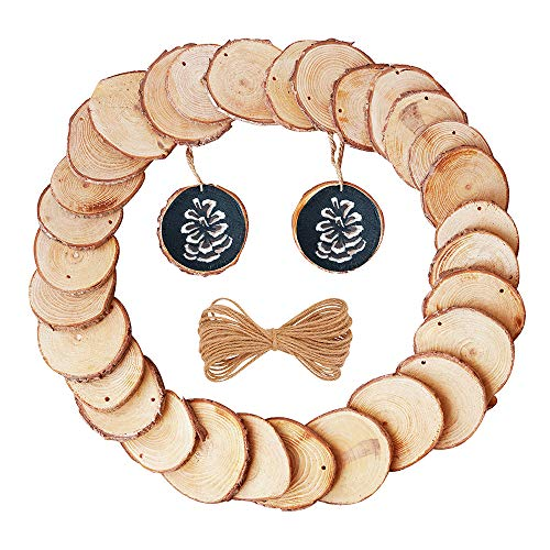 Round Wood Slices Bark with Pre-Drilled Holes 30 Pcs Assorted Sizes 2.4-2.8 inch Natural Unfinished Ornaments Bonus Jute Twine Log Discs Circle to Paint Coasters and DIY Crafts Christmas by NATURALNEO