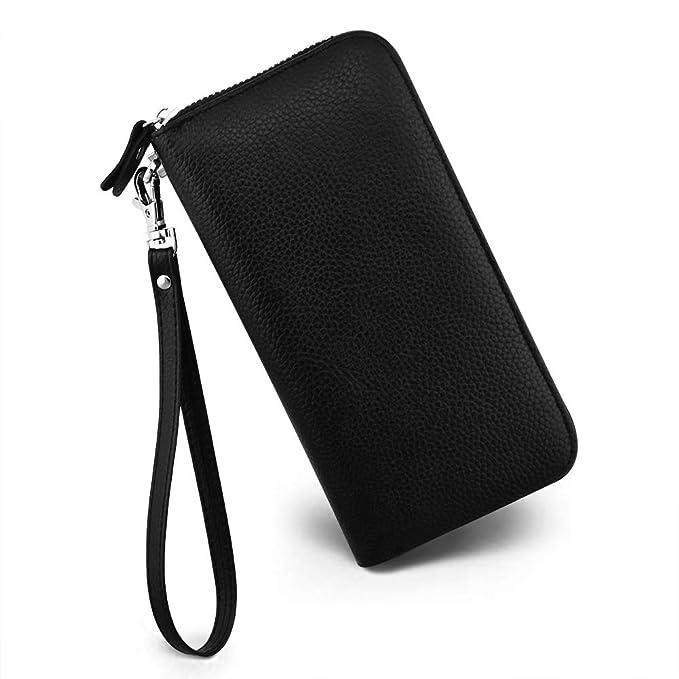 Amazon.com: Monedero para mujer con bloqueo RFID, de piel ...