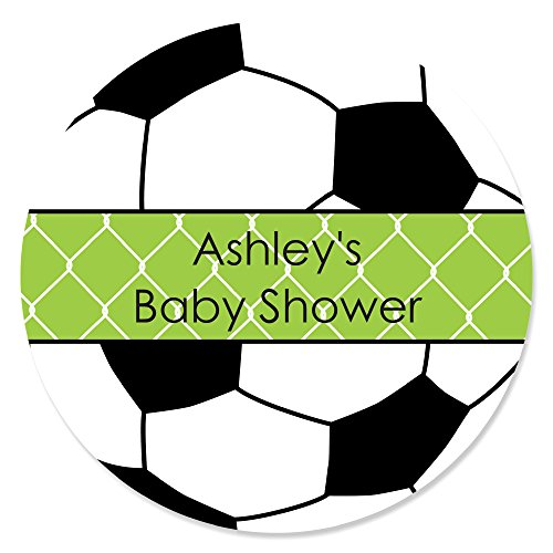 Soccer Labels - Custom GOAAL! - Soccer - Personalized Baby Shower or Birthday Party Favor Circle Sticker Labels - Set of 24