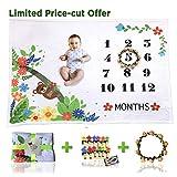 Monthly Baby Milestone Blanket w/Bonus Frame, Photo Clips | Ultra Soft (Upgraded 240gsm) Fleece Blanket | Large 60x40 Size | Best Newborn or Baby Shower Gift for Boy or Girl