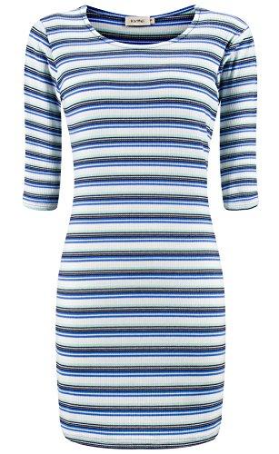 3 Women's Casual Dress Blue Bodycon Sleeve KorMei Striped 4 Mini q5xdqBf