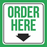 Aluminum Order Here Print Green White Black Down Arrow Picture School PublicBusiness Signs Metal, 12x12