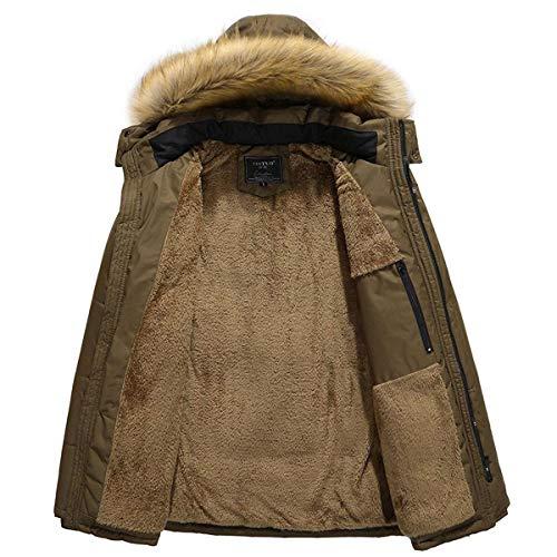 Winter Apparel Coat Hoody Coat Coat Longsleeve Jacket Rompers Khaki Hooded Men with Solid Fur Winter Colors Parka Jacket Warm rwOIXqO