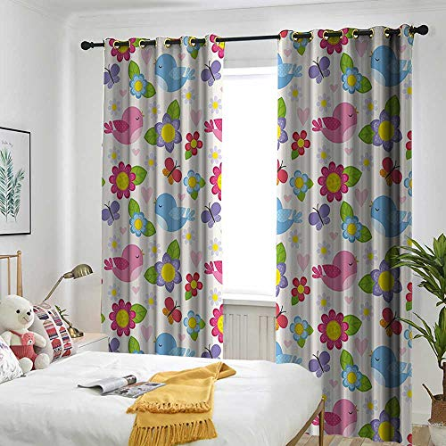 one1love Kids Wall Living Room/Bedroom Window Curtains Cute Cartoon Birds Flowers Leaves Hearts and Butterflies Dotted Playroom Decor Embossed Thermal Weaved Blackout 72