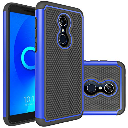 Revvl 2 Case (T-Mobile),Alcatel Revvl 2 (5052W) Case,Alcatel 3 Case Huness Durable Armor and Resilient Shock Absorption Case Cover for Alcatel 3,Revvl 2(T-Mobile) Phone (Blue) ()