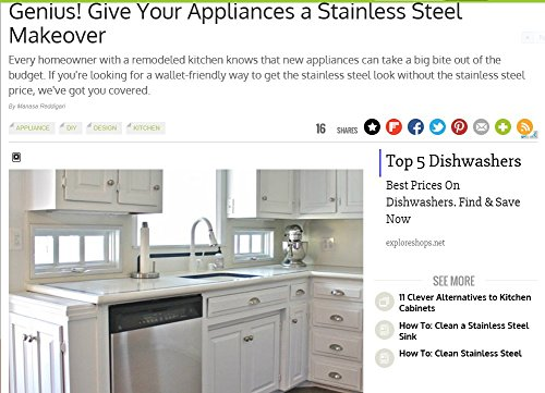 Stainless Steel Overlay (Appliance Dishwasher Panel STAINLESS STEEL Film Replacement 36