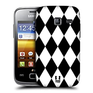Head Case Designs Diamonds Black and White Pattern Protective Snap-on Hard Back Case Cover for Samsung Galaxy Y Duos S6102