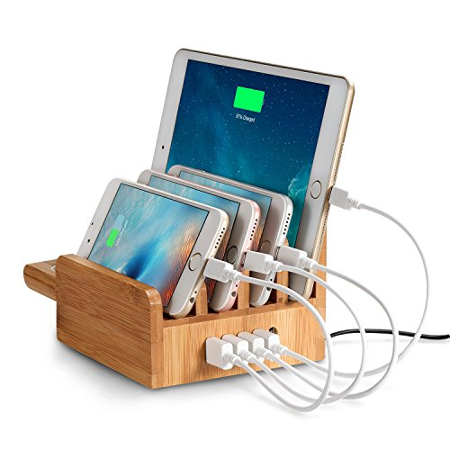 outtek-cs007-40w-5-port-usb-bamboo-charging-station-with-apple-watch-stand-for-smartphones-and-table