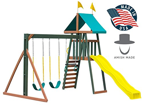 Outdoor Kids Wood Playset, Amish-Made in America - the Little Gem with Double Swingset, Rock Climb, 4' Tower, Vinyl Canopy - Small Backyard Wooden Play Set