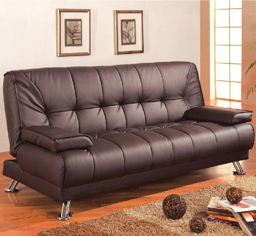 Coaster Casual Faux Leather Convertible Sofa Bed with Removable Armrests and Chrome Base, Brown - Black Vinyl Futon Sofa