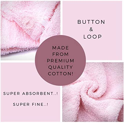 KEEPOZ Hair Towel Wrap Quick Dry 100% Cotton Super Absorbent Turban Head Wrap for Women with Button, Anti Frizz Hair Products, Hair Cap for Curly, Long & Thick Hair (Pink)