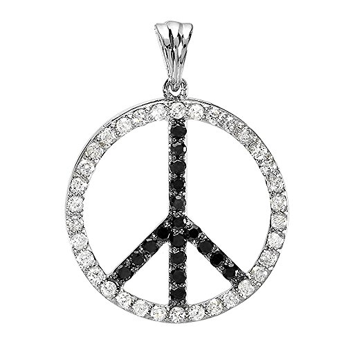 Dazzlingrock Collection 1.00 Carat (ctw) 10K Round Black & White Diamond Peace Circle Pendant, White Gold