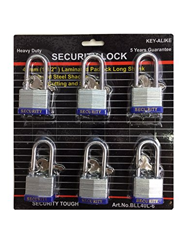Heavy Duty Keyed Alike Set Security Padlock and Key (6 Pack) by Voyager Tools